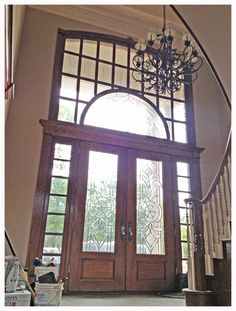 Awesome Front Entry Door Unit From My Childhood Home. Double Door With  Sidelights Topped By An Transom. Solid Mahogany With Leaded Glass.
