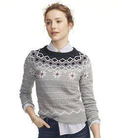 Signature Apres Crewneck Sweater, Fair Isle