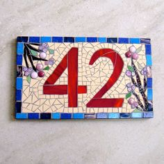 Custom Mosaic House Number by FunkyMosaicsUK on Etsy