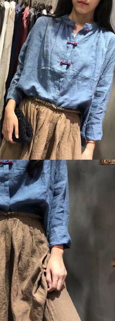 Art blue linen Blouse Chinese Button silhouette fall shirt Linen Tops, Baggy Tops, Girls Uniforms, Fall Shirts, Linen Blouse, White Girls, Plus Size Tops, Casual Tops, Fashion Women