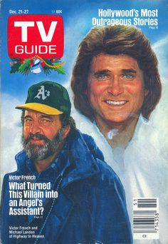 Highway to Heaven (Victor French and Michael Landon) on the cover of TV Guide - December Ahh, the old TV Guide book. This was a great show. Victor French, Set Top Box, Nostalgia, Michael Landon, Vintage Television, Vintage Tv, Vintage Newspaper, Vintage Photos, Old Shows
