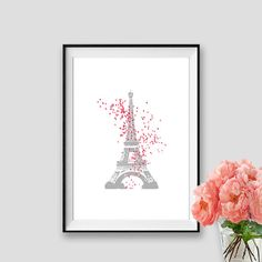 París tema partido impresión Eiffel arte instantáneo descargar París decoración pared arte Paris negro y blanco globos rosa Tour Eiffel del cartel