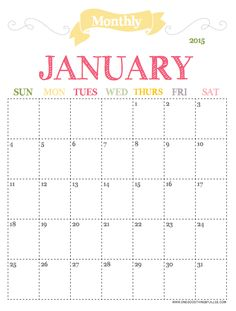 2015 Monthly Planner Jan