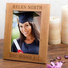 Our Personalised Wooden Photo Frame is engraved with their degree results to…