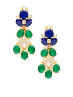 Lapis & Green Onyx Drop Earrings by Bounkit at Gilt
