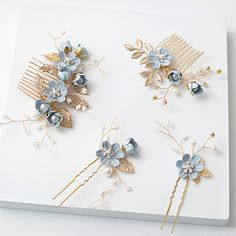 28 Ideas For Flowers In Hair Casual Beautiful Flowers In Hair, Blue Flowers, Flower Hair Clips, Hair Jewelry, Bridal Jewelry, Flower Illustration Pattern, Flower Quotes Love, Girls Bridesmaid Dresses, Bridal Hair Pins