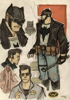 This is cool!! Italian artist, Denis Medri, created a series of concept sketches that present an amazing interpretation of The Dark Knight as he might exist in the '50s. The main influence for the design of the characters comes from the '50s rockabilly music culture.