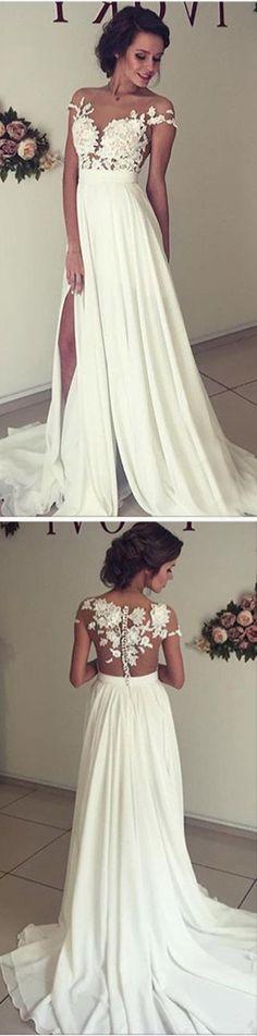 Lace Bodice Chiffon Wedding Dress Lace Beach Wedding Gown,White Prom Dress