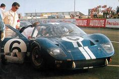 1966 Le Mans Ford GT40 Mk. II # 6 Mario Andretti - Lucien Bianchi a Holman-Moody entry DNF. S Stevens