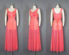 Vintage 50s Vanity Fair Pink Peignoir Set   1950s Sheer Nylon Chiffon + Lace Nightgown Robe Lingerie Set (xs/small)   Birthday Life Vintage on Etsy