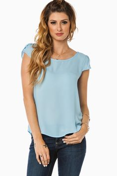 Tuula Blouse in Sky Blue / ShopSosie #sky #blue #tulip #short #sleeve #blouse #shopsosie