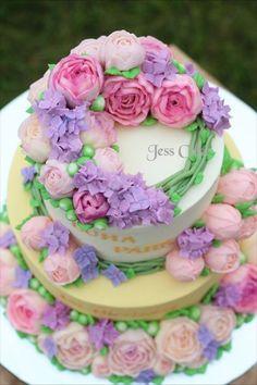 Buttercream flower cake by JessCake