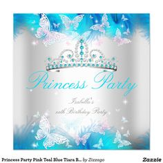 Princess Party Pink Teal Blue Tiara Butterfly 5.25x5.25 Square Paper Invitation Card