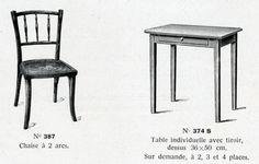 Chaises et tables pour classes enfantines Baumann 1933