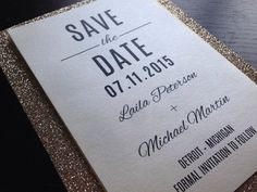 Simple Elegant Glitter Save-The-Date by PeoniesPolkaDots on Etsy.com | Save the Dates | #SaveTheDate #Weddings