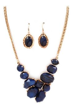 Sapphire Cabochon Necklace Set | Emma Stine Jewelry Necklaces