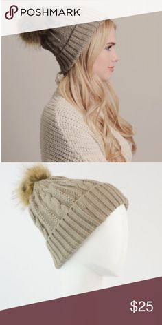 Cable Knit Mocha Pom Beanie Adorable Pom beanie. Soft and cozy. 100% acrylic. Price firm. Accessories Hats