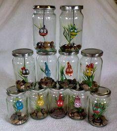 Fish in a Jar Sea Crafts, Diy Arts And Crafts, Mason Jar Crafts, Bottle Crafts, Diy For Kids, Crafts For Kids, Clay Jar, Jar Design, Jar Art