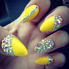 Yellow bling Stiletto nails
