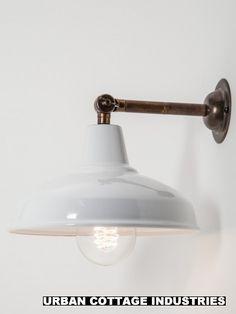 designer wall light brass white shade Urban Cottage Industries