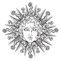Antique Style Sun mit Gesicht von Apollo, Drawing Tips sun drawing Tattoo Sketches, Tattoo Drawings, Body Art Tattoos, Art Sketches, Art Drawings, Small Tattoos, Ship Tattoos, Tattoos Skull, Ankle Tattoos