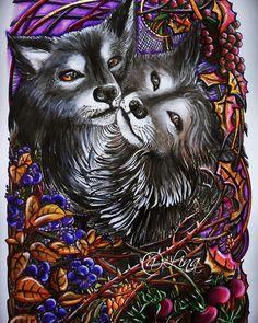 """Мои волки. Акварель. """"Мания Ботаника"""" Ирины Винник. #раскраски #раскраскиантистресс #раскраскидлявзрослых #coloring #coloringbooks #манияботаника #иринавинник #bayan_boyan"""