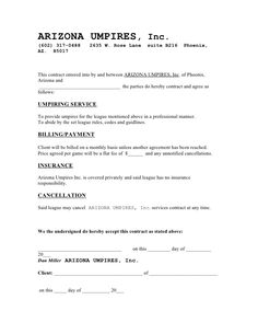 ARIZONA UMPIRES CONTRACT EXAMPLE 2009   Cleaning Contract Agreement