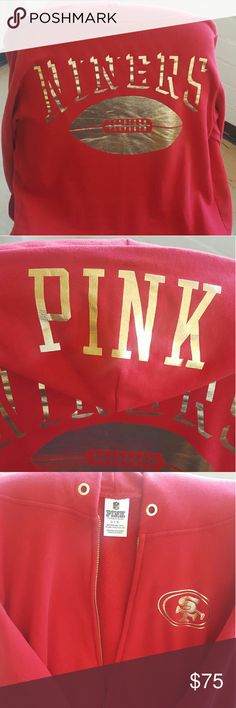 Victoria Secret PINK SF 49ers Zip up Hoodie Its FOOTBALL TIME! Hard to find now VS PINK San Francisco 49ERS zip up hoodie! Comfy and perfect for the football season this Fall! Only flaw with this is the pull strings is missing from the hood. Jackets & Coats