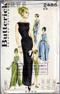 1960's Vintage Butterick Pattern For An Evening Dress | eBay