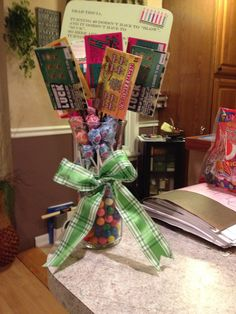 40th birthday gift Sucker bouquet with lotto tickets Gift ideas