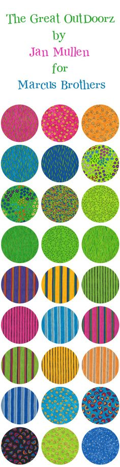 If you LOVE bright spring fabrics like www.plumgoodquilting.com ...these are for you! The Great Outdoorz by Jan Mullen