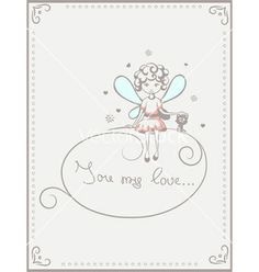 Card with fairy and cat love vector by Veronichka on VectorStock®