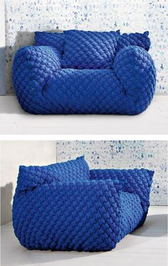 #armchair with removable cover with armrests NUVOLA 09 by Gervasoni | #design Paola Navone #blue @gervasoni1882
