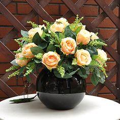 12 del color de Champán Grande Arreglo Rosas con jarrón de cerámica redondo Negro - EUR € 51.57