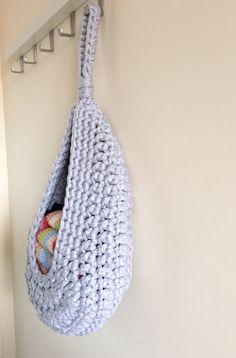 Hanging storage crochet basket toy storage by Pixiesmagichook