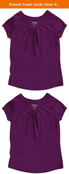 French Toast Little Girls' Short Sleeve V-Neck Tee, Grape Juice, 4. Girl's V-neck basic t-shirt with gathers at the center neckline and cap sleeves.