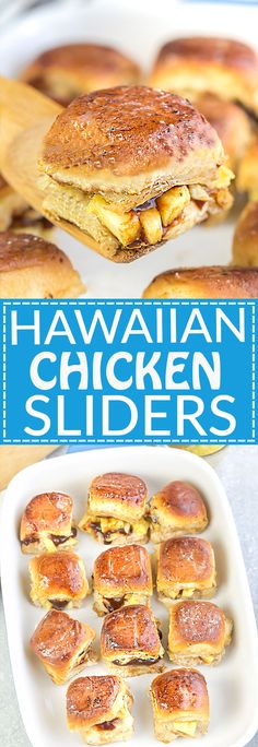 Hawaiian Chicken Sliders are the perfect easy appetizers for feeding a crowd. Best of all, they come together in less than 30 minutes with tender chicken, sweet pineapples and gooey cheese. Serve these delicious burgers for game day, summer parties, barbecues and potlucks!