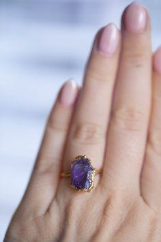 Raw Amethyst Ring Yellow Gold Rough Gemstone Ring Raw