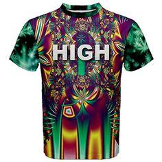 WorldX Mens High Marijuana Weed Cannabis Kush Dmt Drug Pattern Hippie Retro T Shirt, Weed - 3XL
