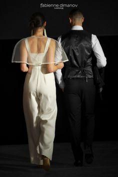 La - Combi - de mariage en soie et dentelle de calais signée Fabienne Dimanov Mariage; #fabiennedimanovparis #surmesure #faitmain #fabriqueenfrance #madeinfrance #tenuedemariee #robedemariagecivil #robedemariagesurmesure #artsmod 2018 Jumpsuit, Paris, Collection, Dresses, Fashion, Silk, Overalls, Vestidos, Moda