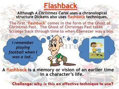 Flashback Although A Christmas Carol uses a chronological structure Dickens also uses flashback techniques. The first 'flashback' comes in the form of.