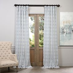 Half Price Drapes PRTWD06B84 Printed Cotton Curtain Nairobi Denim -- For more information, visit image link.