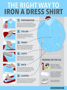 Ironing a dress shirt is one of those things most people don't know how to do right. As no one wants to walk into a meeting looking like you just took the shirt out of the laundry basket, here are some tips from Business Insider and The Art of Manliness for properly using your iron on a dress shirt.