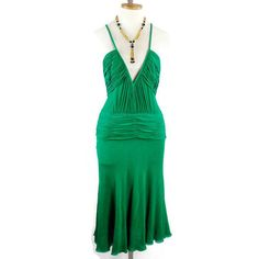 Vintage GIANNI VERSACE COUTURE Emerald Green Plunging Silk Crepe... ($175) ❤ liked on Polyvore featuring dresses, emerald green dresses, green dress, evening cocktail dresses, vintage dresses and ruched cocktail dress