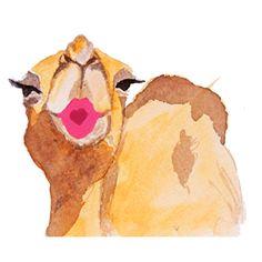 Kissing Camel Watercolor Print