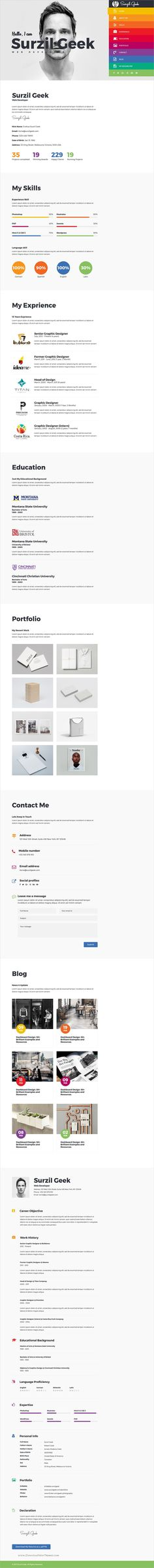 Geek is a clean and modern design responsive HTML #bootstrap template for perfect #CV, resume and #portfolio showcase download now➩ https://wrapbootstrap.com/theme/geek-resume-portfolio-template-WB0NR38X1?ref=datasata