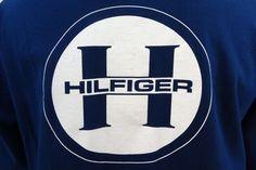 TOMMY HILFIGER Jeans Navy Big White Logo on Back Pullover XL Vintage Hoodie #TommyHilfiger #Hoodie