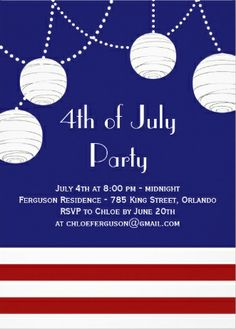 String lights patriotic 4th of July party invites.