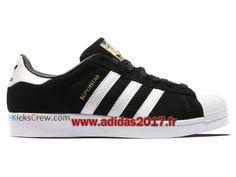 5b08c98a955c9 Adidas Superstar Suede - Chaussure Adidas Originals Pas Cher Pour Homme  Femme Noir Blanc S75143