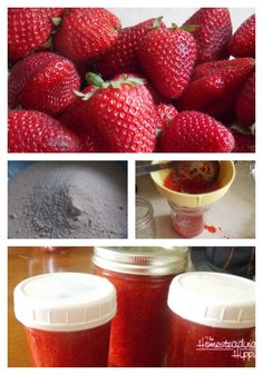 Strawberry freezer jam is a tasty way to enjoy those little jewels all year long! The Homesteading Hippy #homesteadinghippy #fromthefarm #preserving